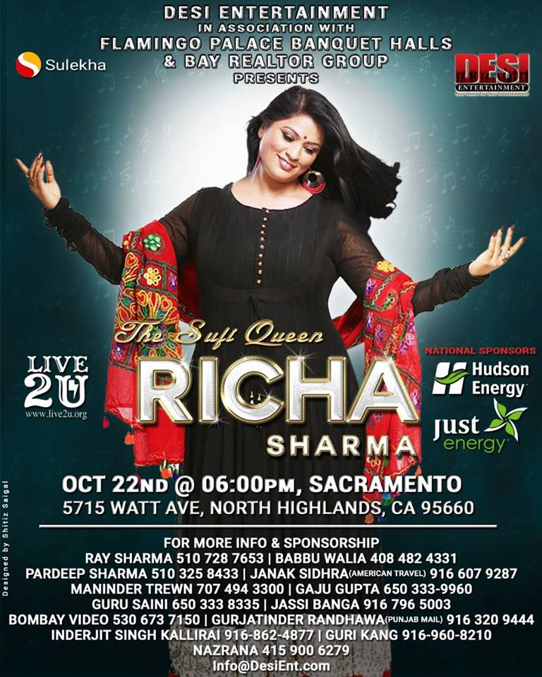 The Sufi Queen, Richa Sharma, Live in Concert Sacramento, Ca.